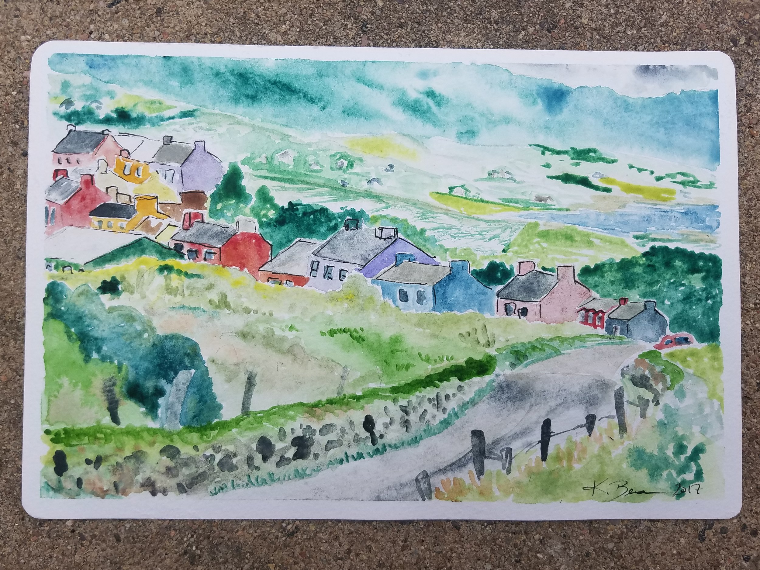 Feeling the ENERGY in Utah.  This week I'm back in Salt Lake capturing content for an Energy Democracy Symposium at the University of Utah. Starting tomorrow...so for now here's a watercolor card of the Irish countryside I made for my Da.