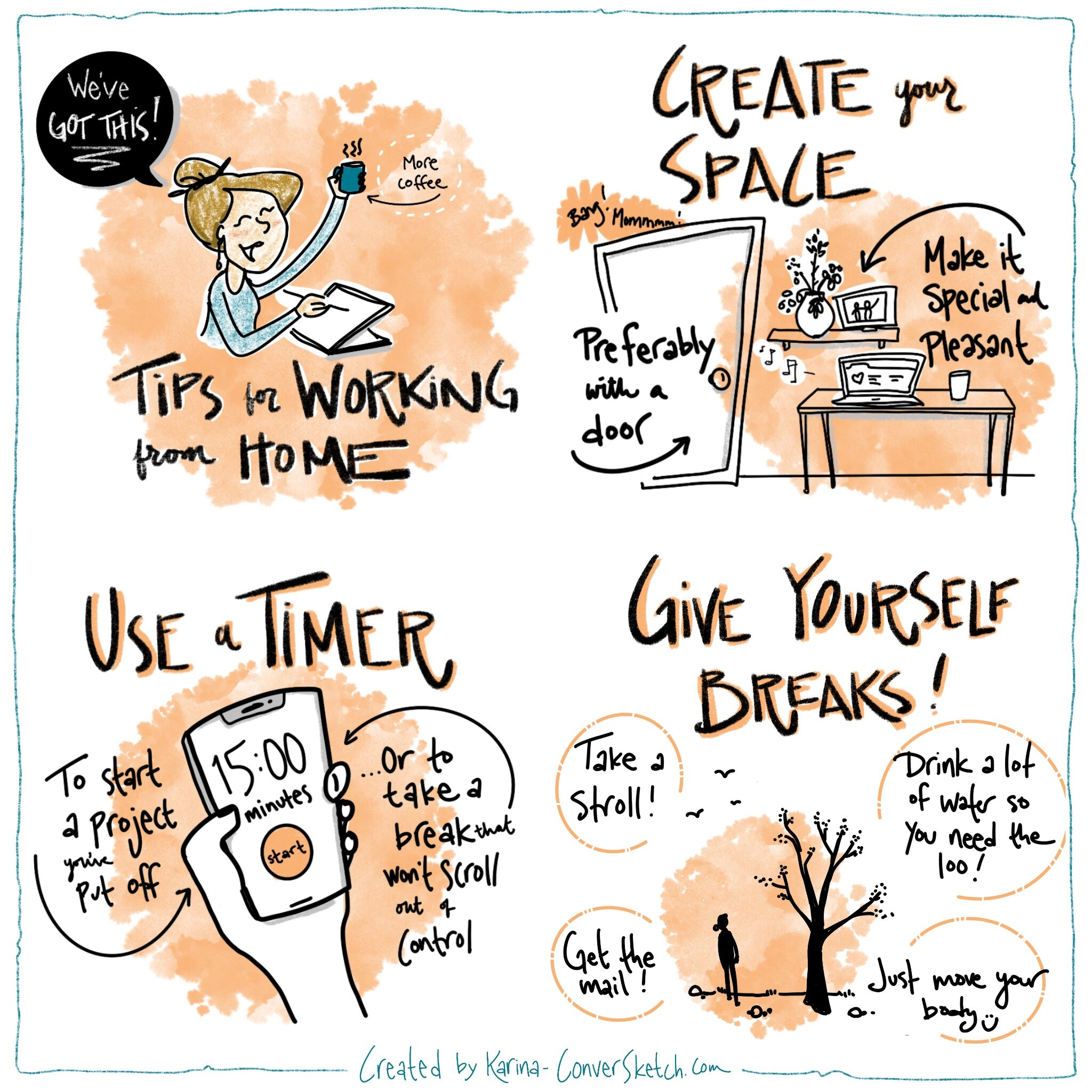 A Freelancer S Favorites Illustrated Tips For Working From Home Conversketch Graphic Facilitation
