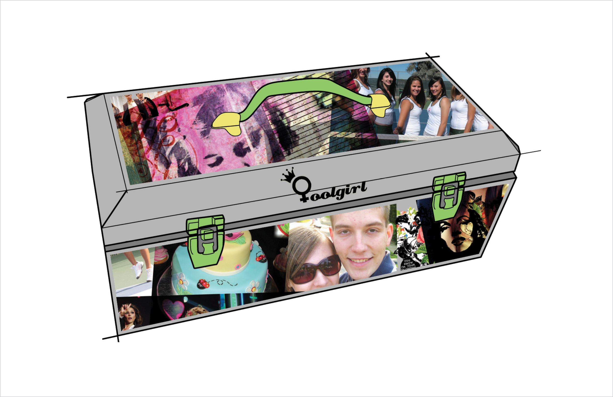 The box is not only a case to organize and keepher tools well, but a place to showcaseherown individuality through pictures of her artwork, friends, boyfriends but also be a canvas to celebrateher completed projects.