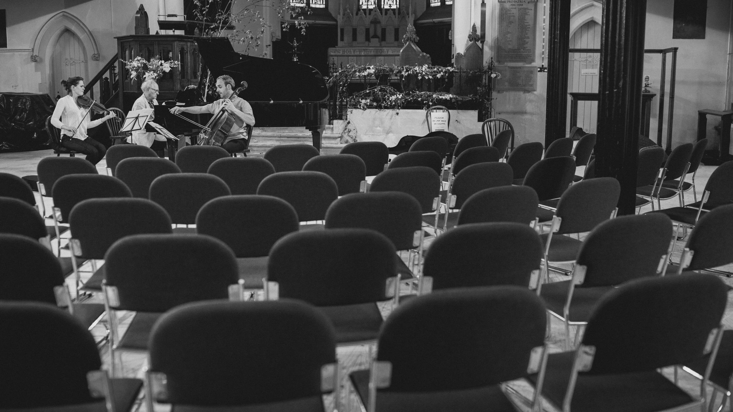 Beatrice Philips, Bengt Forsberg and Pierre Doumenge rehearsing Haydn Piano Trio No. 36 in E-Flat Major.