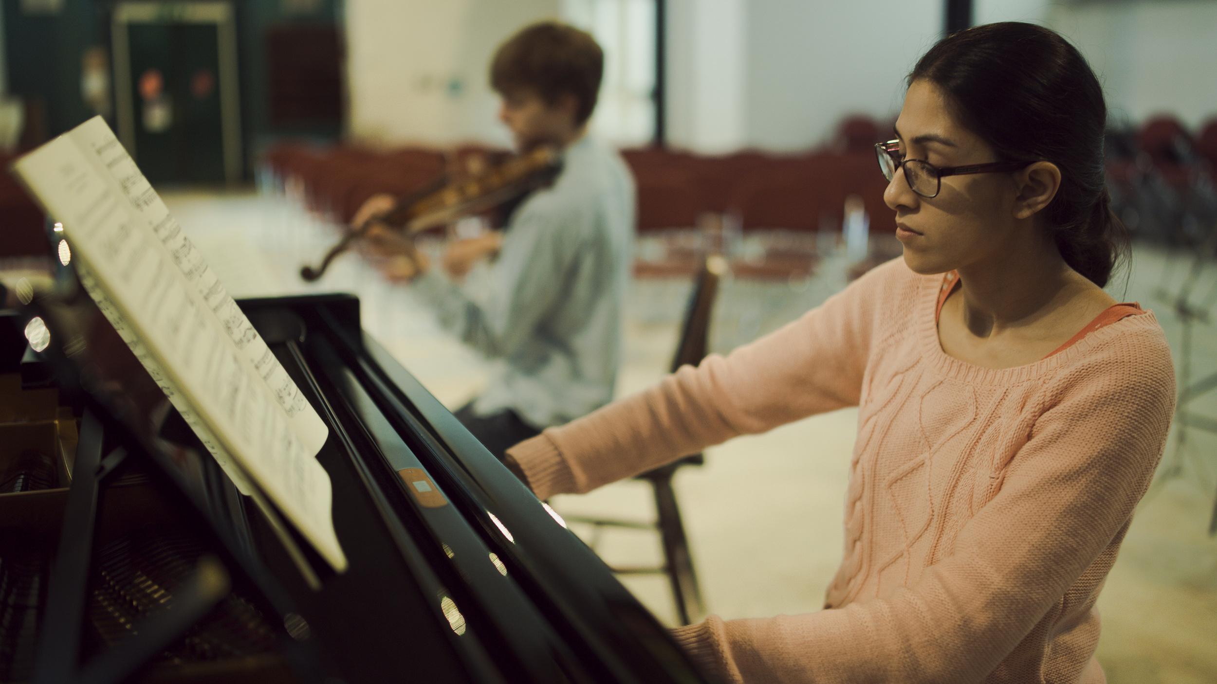 Tim Crawford and Mishka Rushdie Momen rehearsing Beethoven Piano Trio Op.1 No.2.