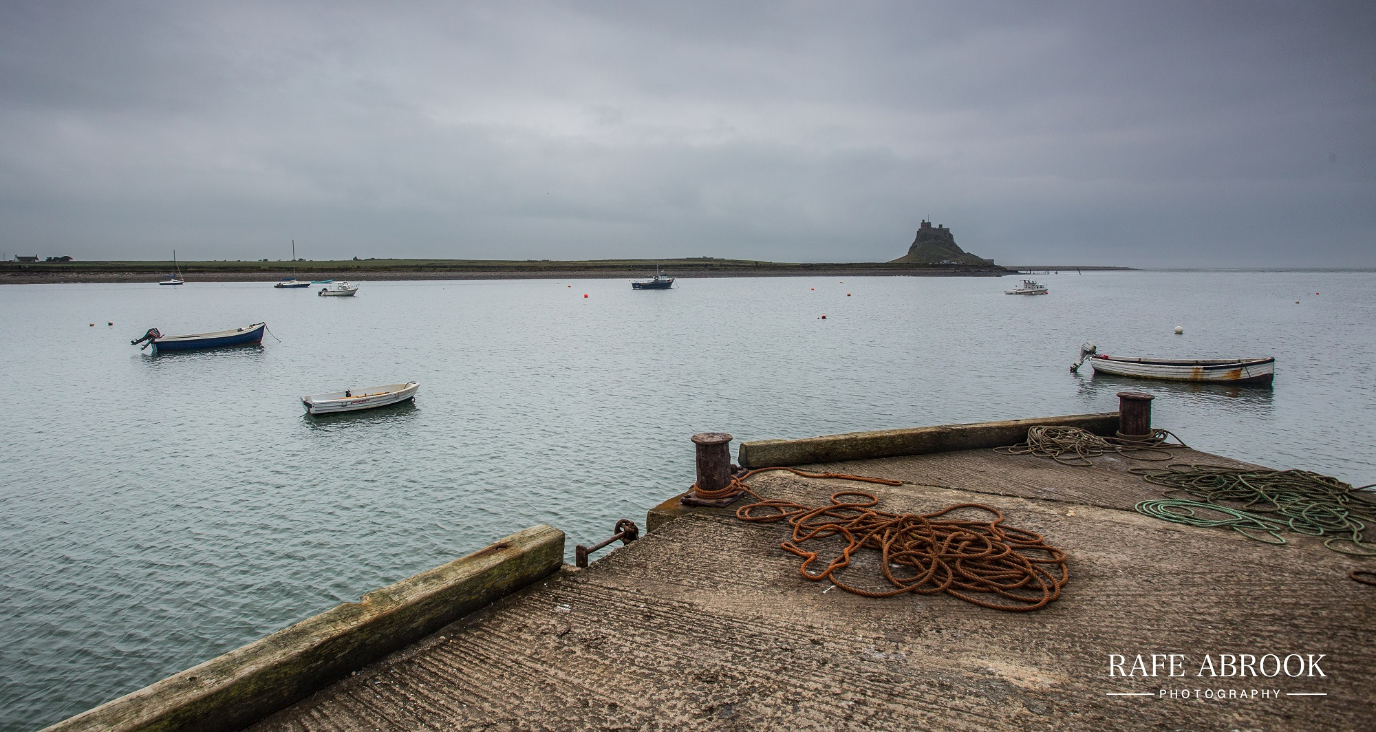 View to Lindisfarne Castle across the harbour