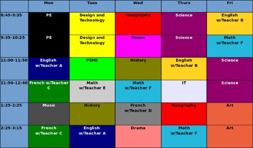 Fig 1: Typical UK timetable, courtesy of the Innovation Unit