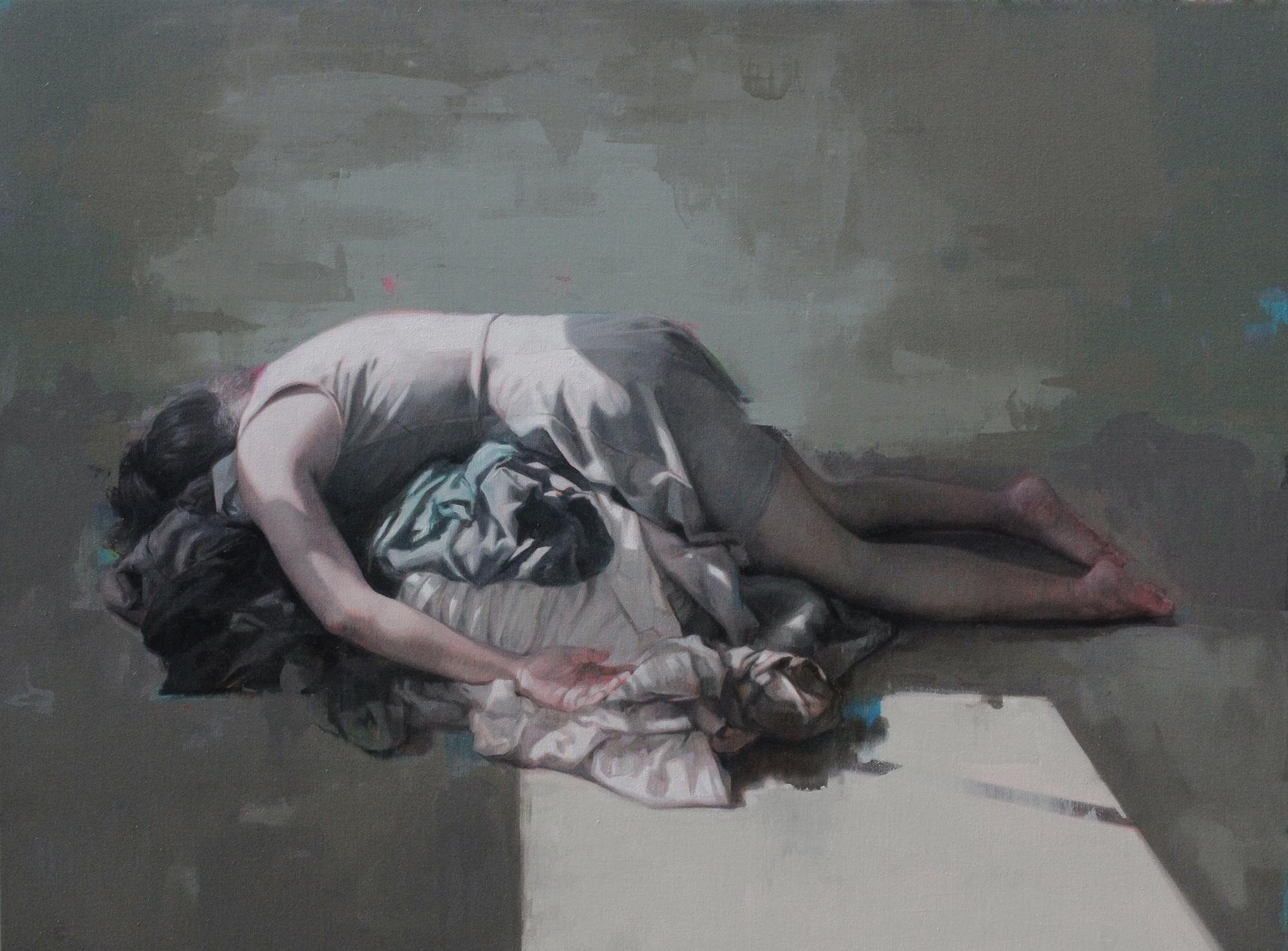 "Folded. Oil on canvas. 36""x48"". 2018"