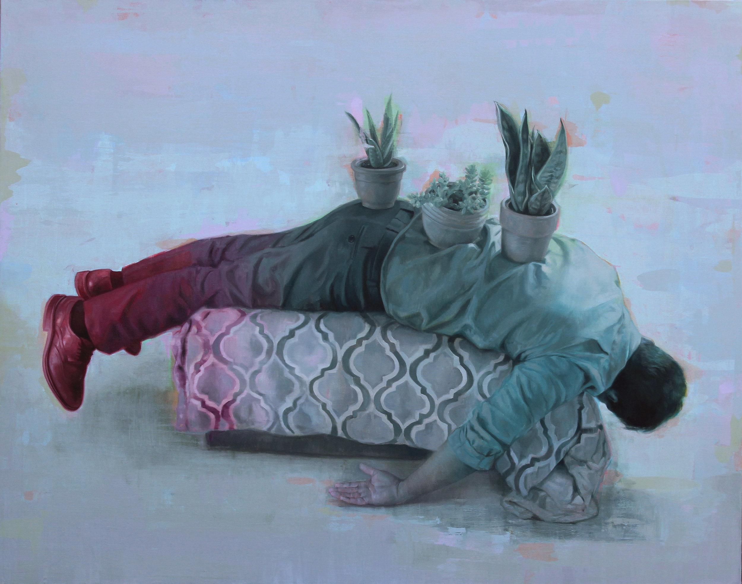 """""""Escultura Domestica 2"""". Oil on canvas. 48""""x60"""". 2018"""
