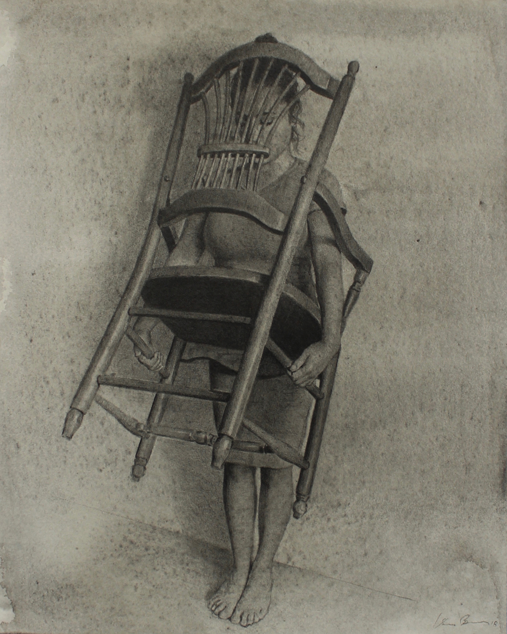 "Chair.  graphite and watercolor on paper. 10""x8"". 2018."