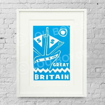 SS Great Britain - blue. Limited edition screen print by Lou Boyce.