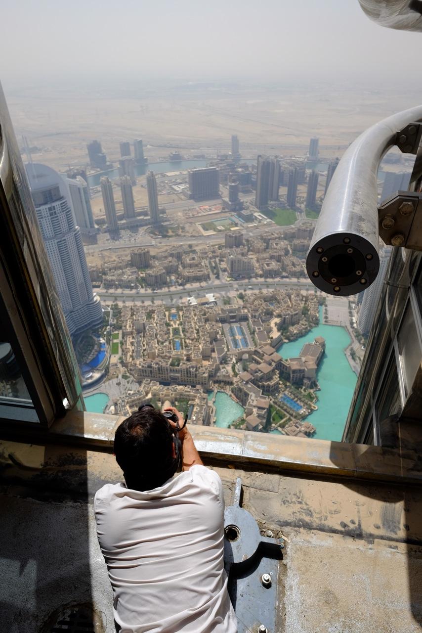 Scouting for a shoot at the Burj Khalifa in Dubai