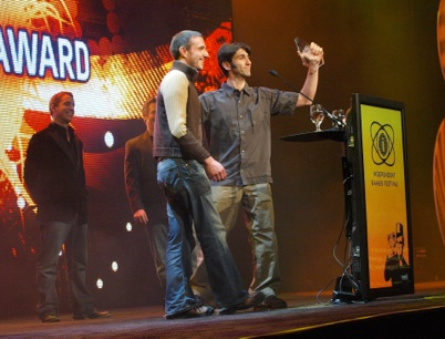 Andy and Eddy picking up the Award in San Fransisco