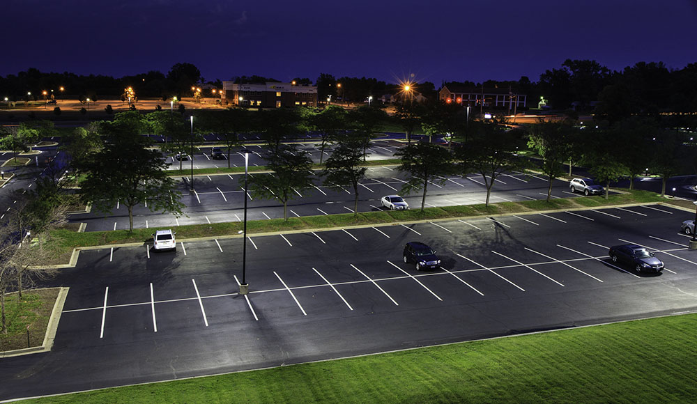 A great example of using LED Lighting to create a well lit and safe parking lot area.