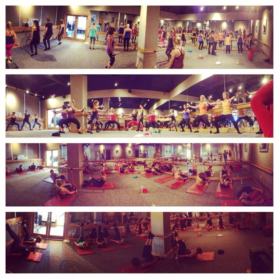 Super challenging velcro tube class for 250 club members! Photo courtesy of Danielle Cote Pure Barre Lake Norman.