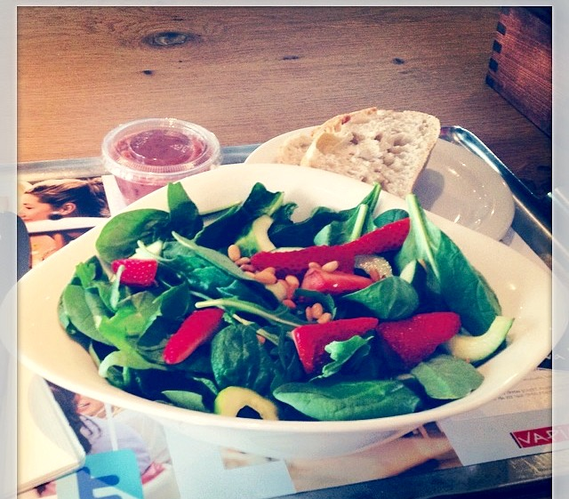 My strawberry and spinach salad from Vapiano's. Easy to recreate at home. Even tastier actually.