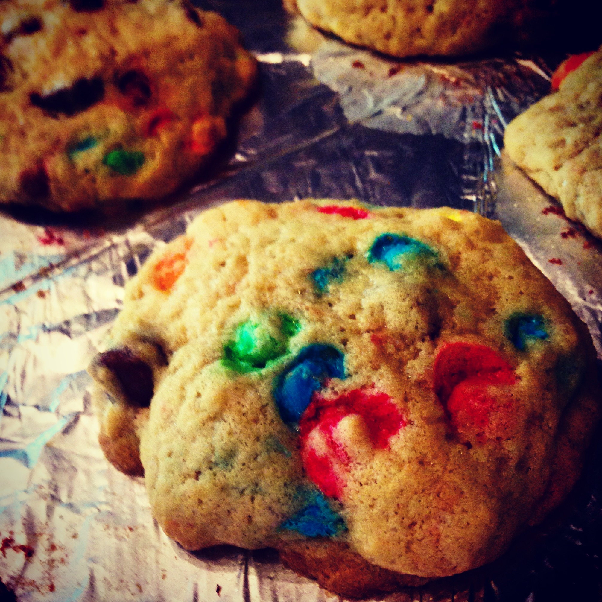 Baking up lots of love with these organic-ish m&m cookies to hopefully bring some smiles tonight :)