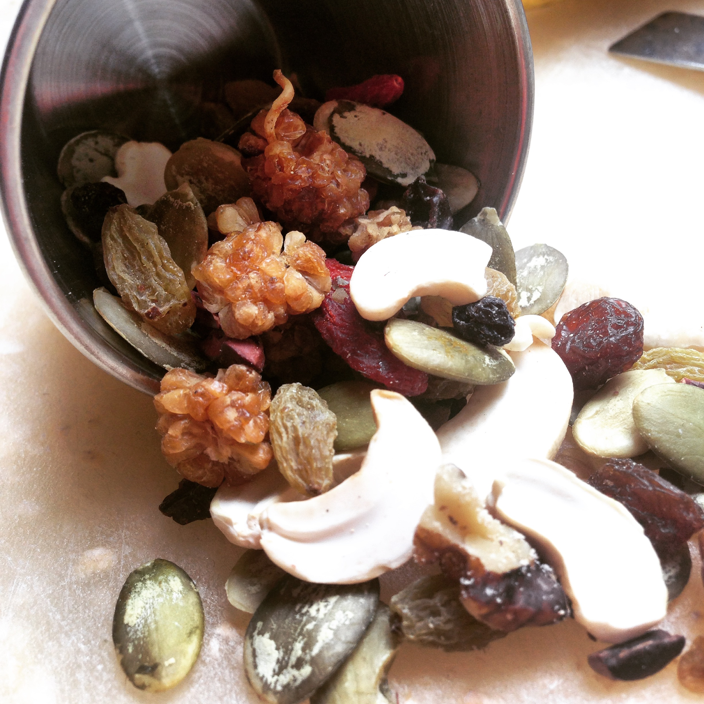 Superfood trail mix is a great food to reduce stress and promote feelings of happiness due to the satisfying crunch of the snack as well as the vitaminand mineral content that seeds, nuts and berries possess.