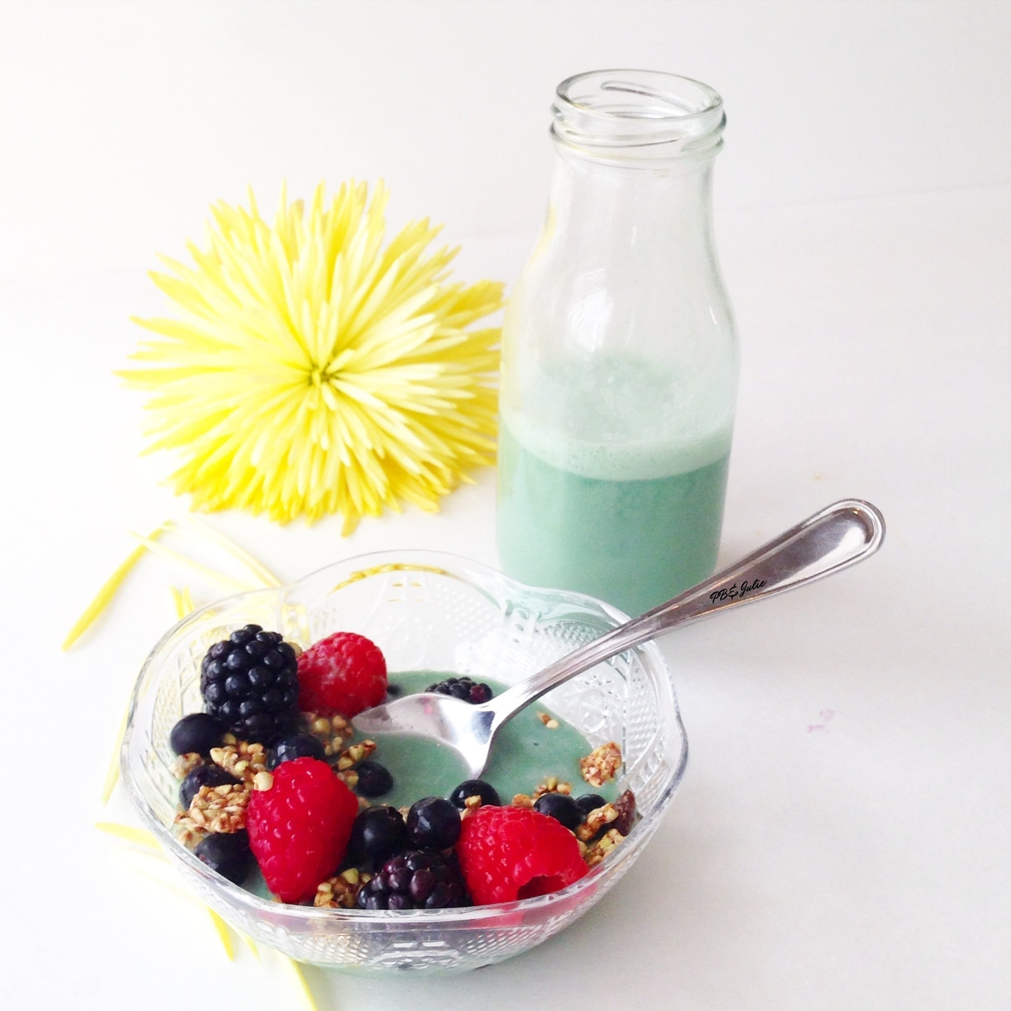 Beauty Pebbles with vegan Green Goddess Mylk... breakfast has never looked {or tasted!} so good!