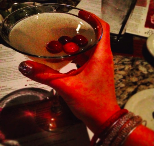 My official drink of GNO... the Winter White Cosmo at Bonefish. Yummy!