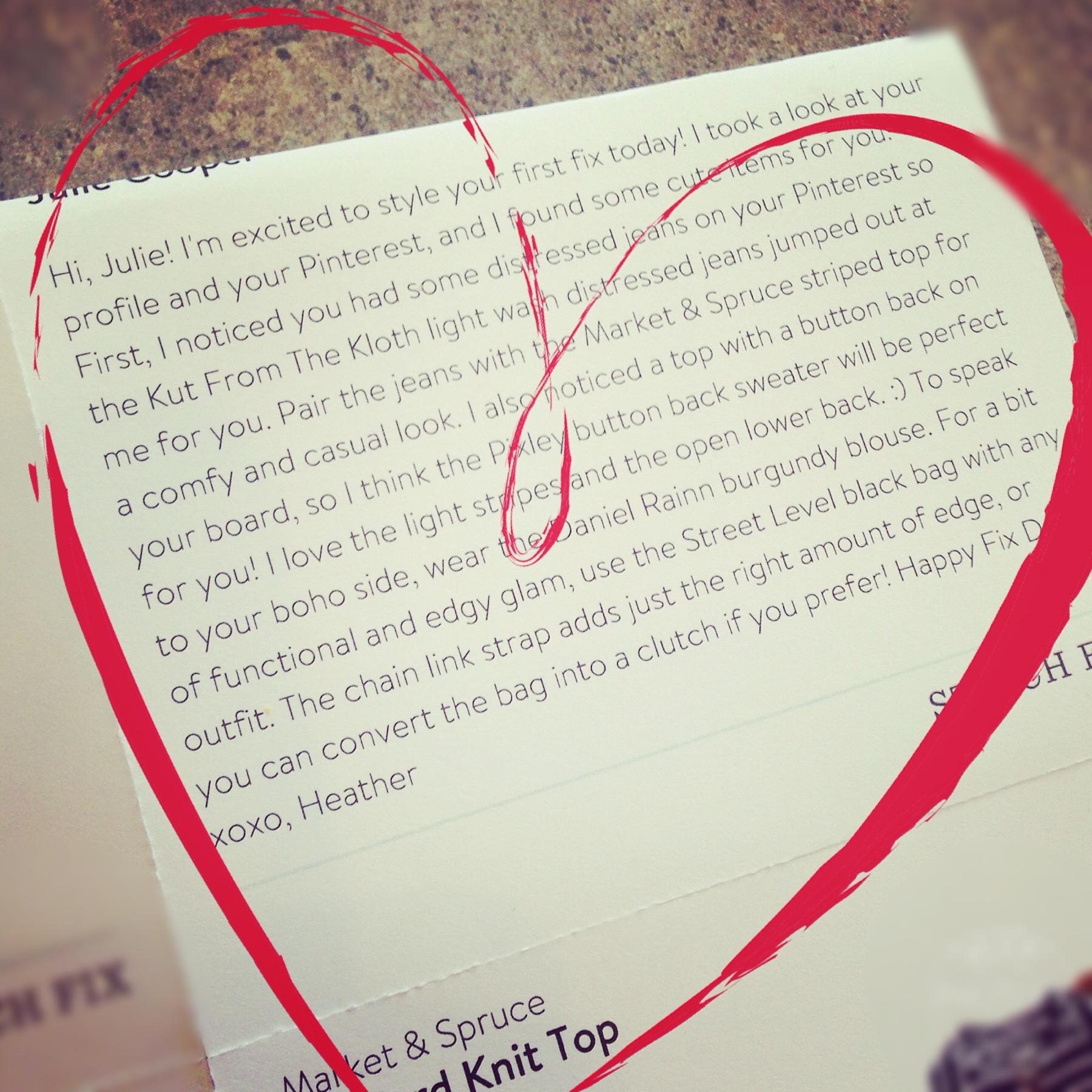 Love note from my Stitch Fix stylist #virtualbesties