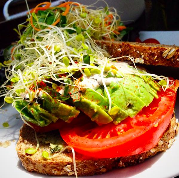Luna's Living Kitchen Avocado & Basil sandwich is Nila's go-to at Charlotte's premier raw restaurant.