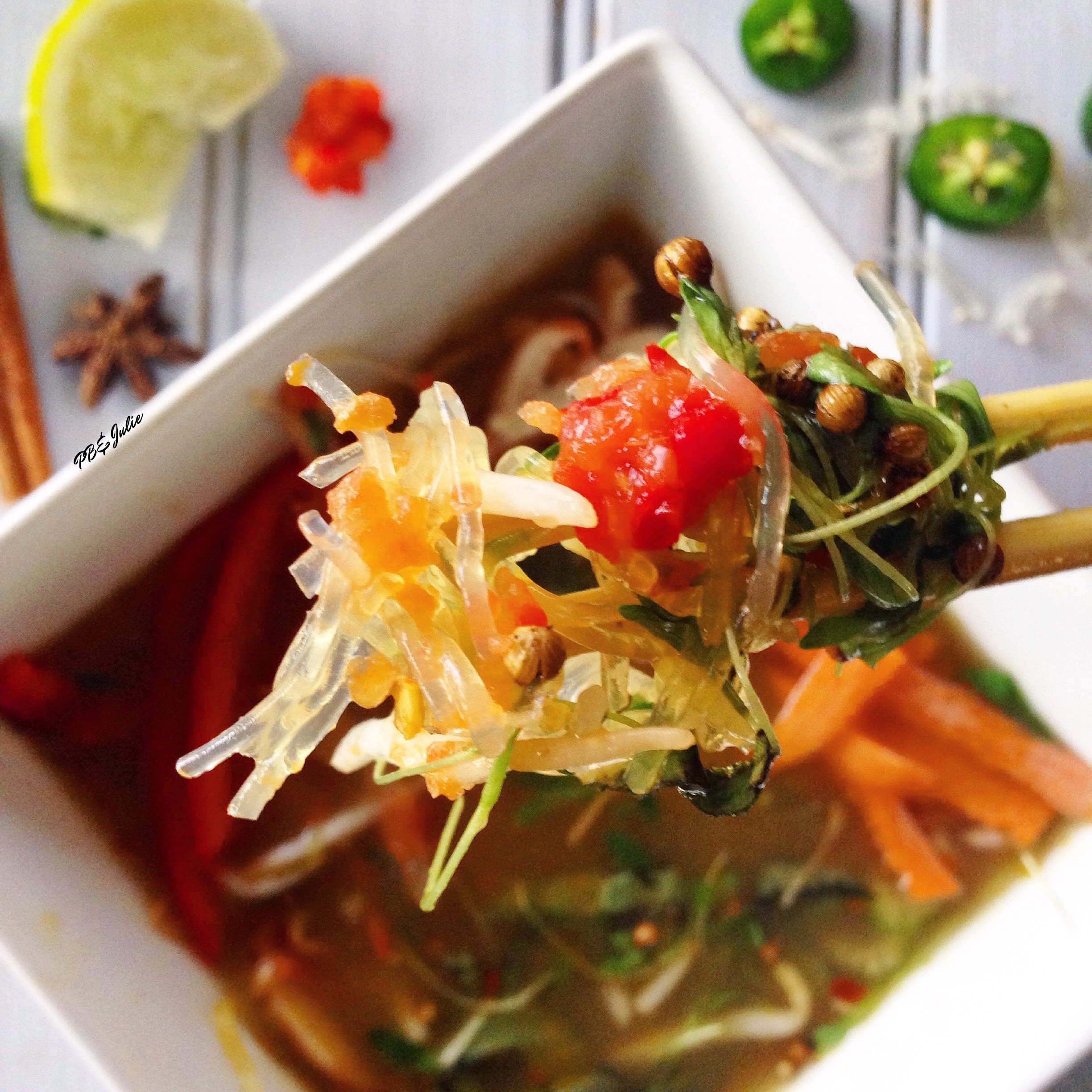 Mineral dense kelp noodles replace carb-heavy rice noodles in this vegan remake of the classic Vietnamese Pho soup for a plant-based, clean eats meal your whole family will love. Perfect for cozying up with on these cold winter days!