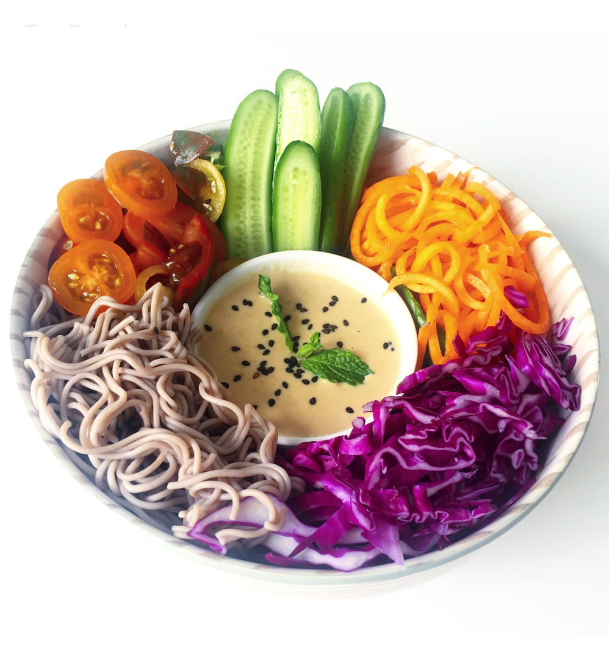 Crave-worthy Vegan and Gluten-Free Asian-style Sesame Noodle bowl. The secret sauce is creamy, raw and ADDICTIVE. Don't say I didn't warn you :)