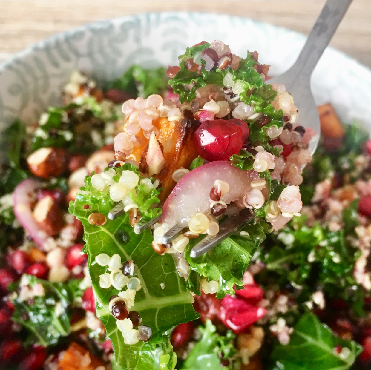 Bite me :) A forkful of goodness in every bite of this legendary sweet potato, quinoa & kale summer salad. #vegan #glutenfree #holiday