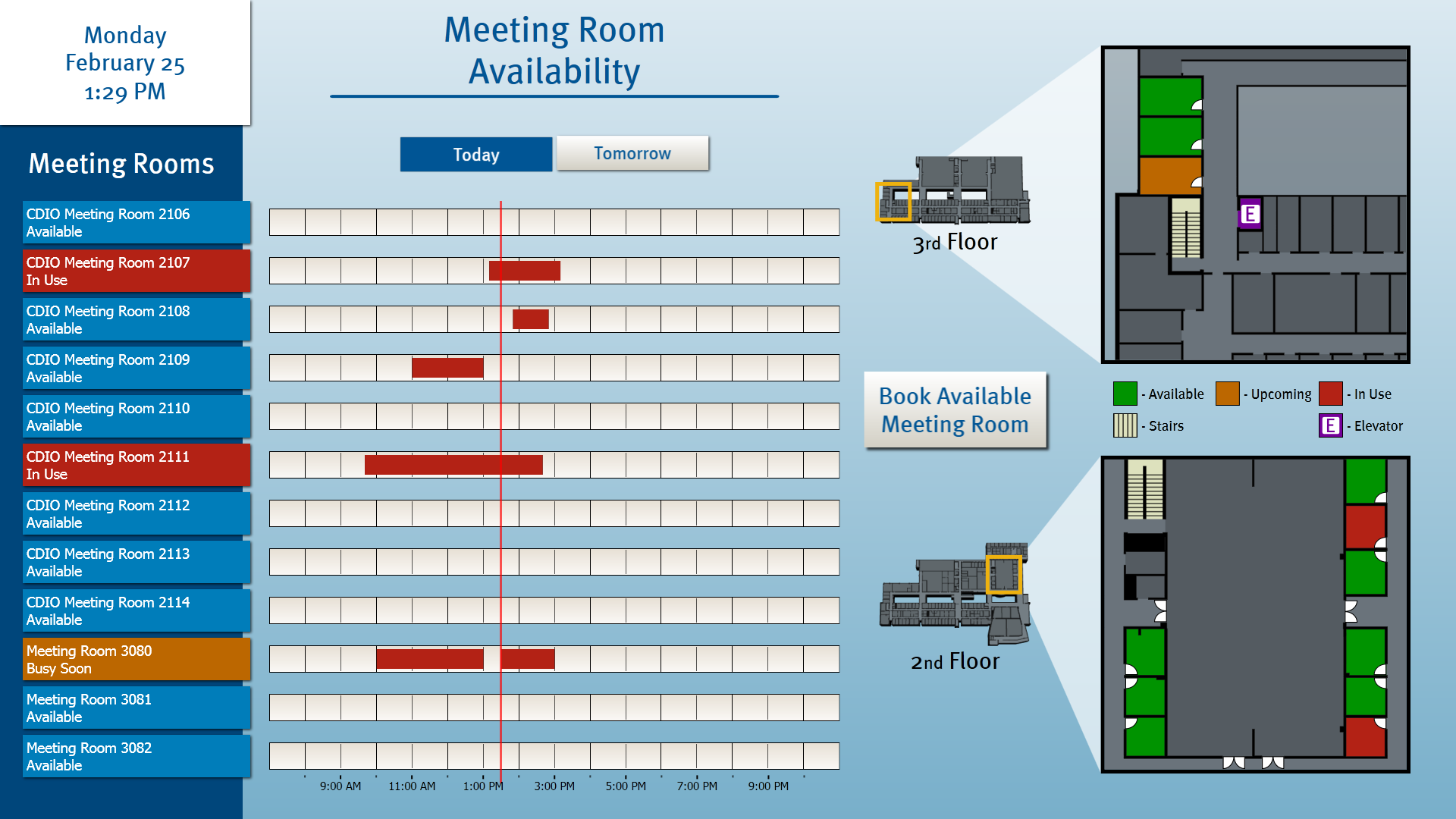 "This Room-booking application also lives on a 55"" touchscreen display and ties Room Scheduling to campus email and provides instant visual status."