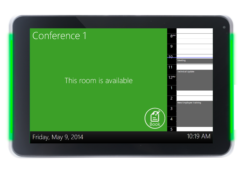 """10"""" display with customizable LED indicators to clearly communicate room status from a distance."""