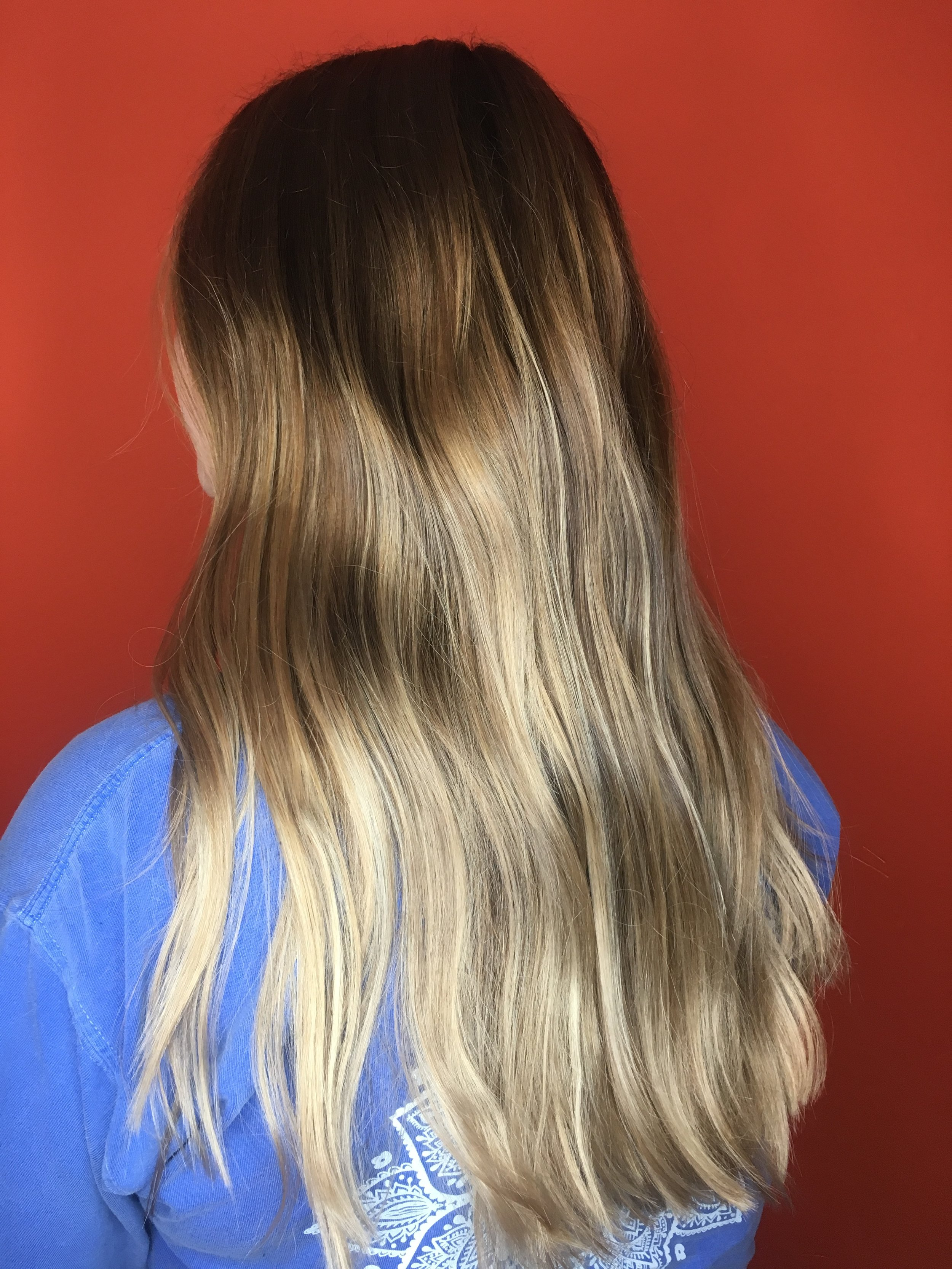 A reverse balayage color melt for a client at Designory Hair & Makeup Studio.
