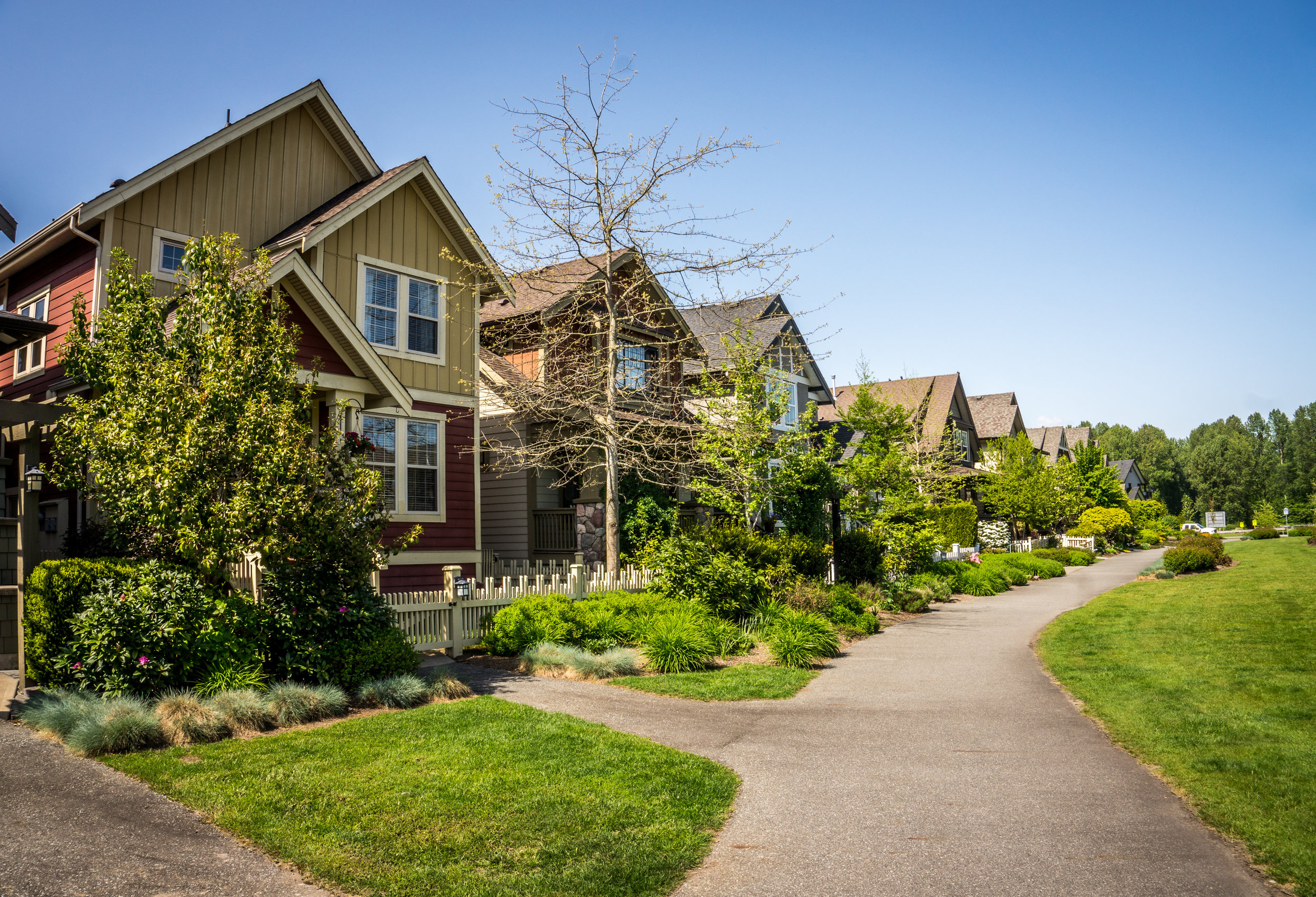 Suburbia in Fort Langley, a historic village in the Fraser Valley of British Columbia