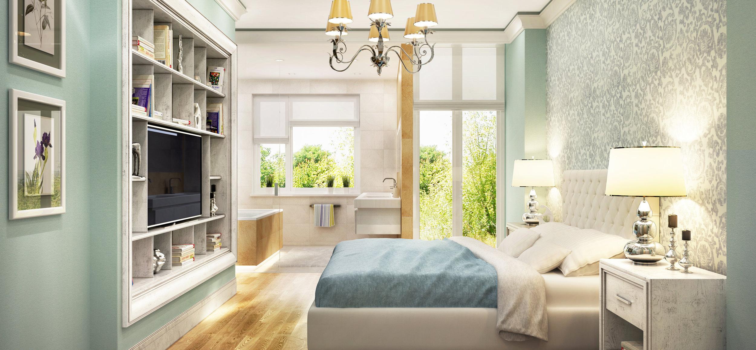 Modern bathroom in bedroom