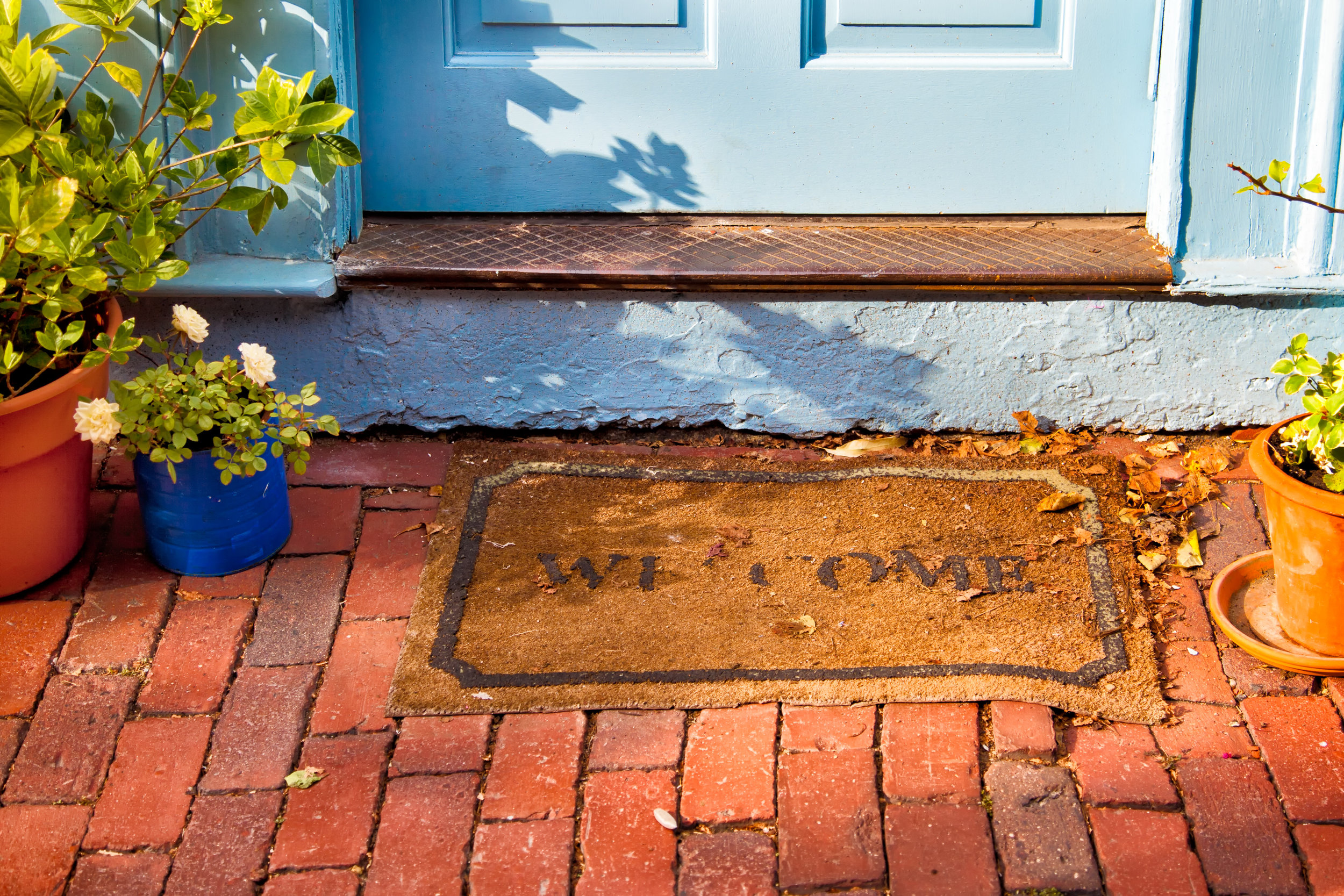 Front door with welcome mat