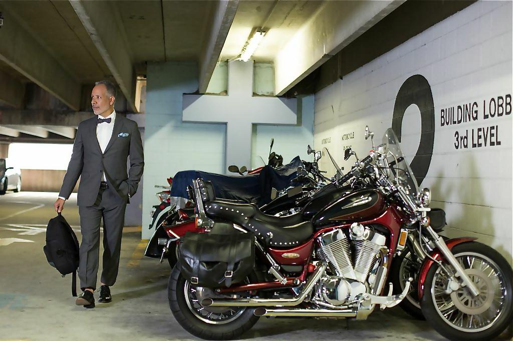 Suits & Motorcycles photo shoot with Tomas Espinoza. Wearing Banana Republic.