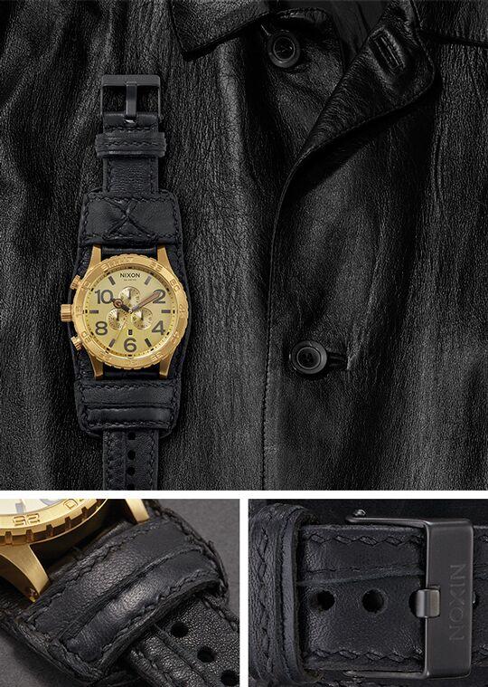 leather nixon watches