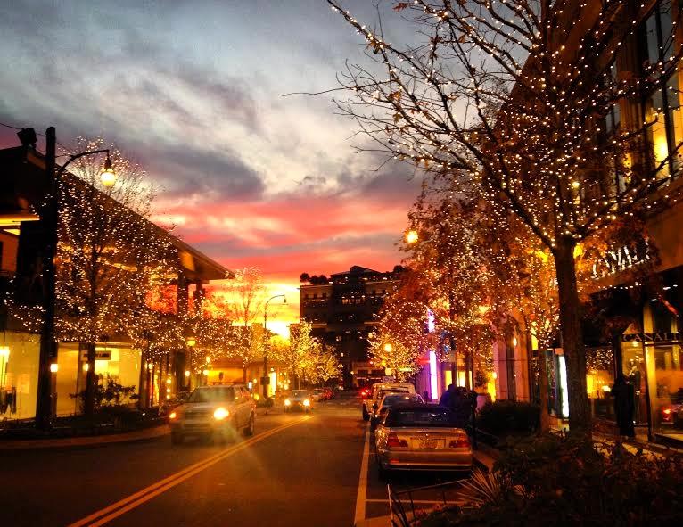 The Shops Buckhead Atlanta at dusk.