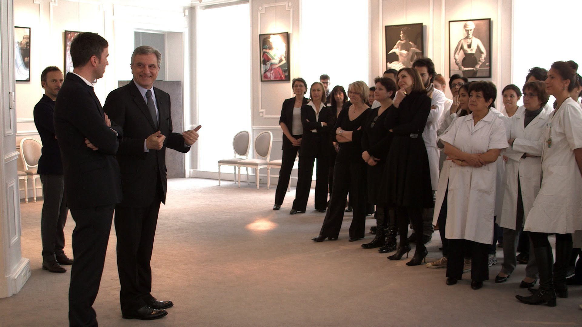 Raf Simons is introduced to Dior staff.