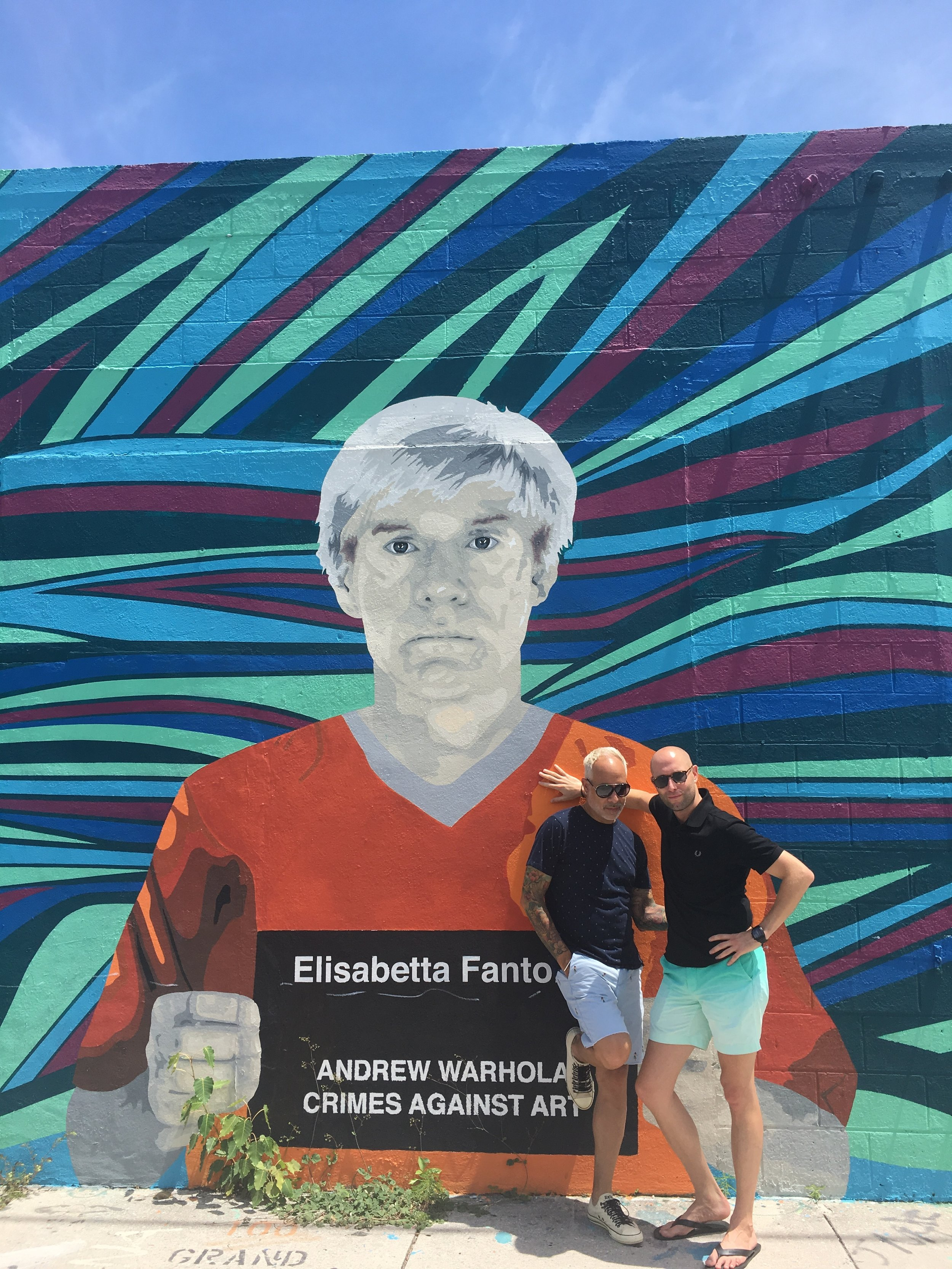 E. Vincent Martinez & Alex Page with Andy Warhol at Wynwood Walls
