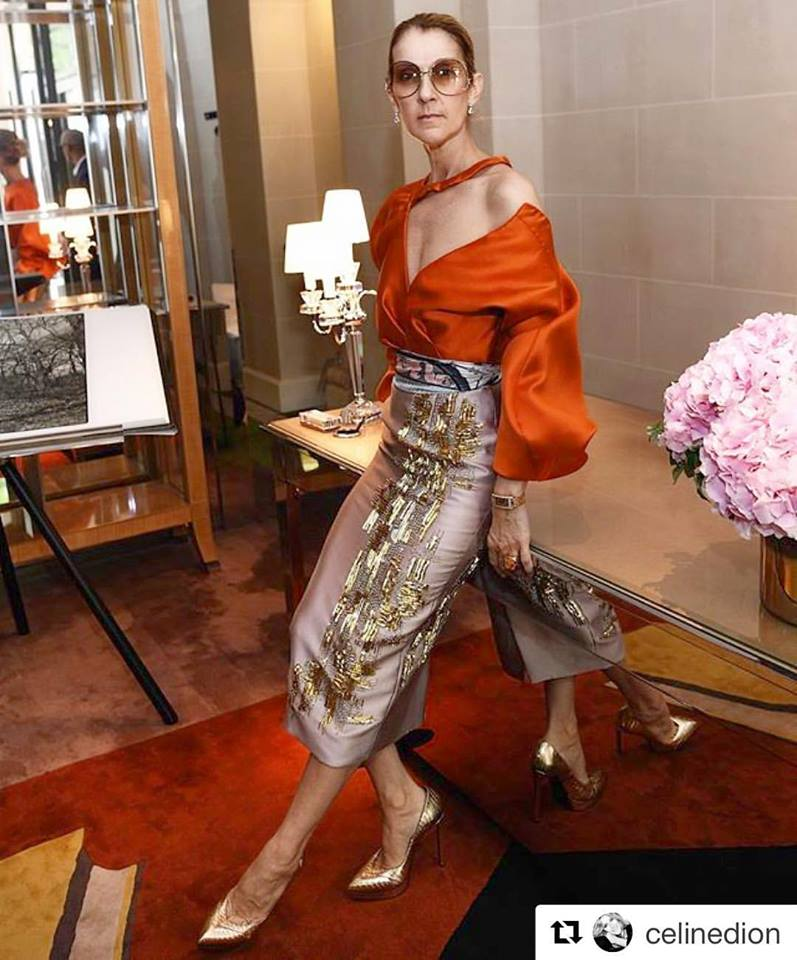 Celine Dion wearing Bibhu Mohapatra.