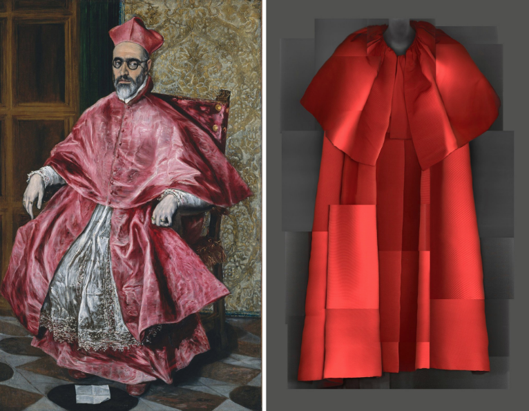Left: El Greco, Cardinal Fernando Niño de Guevara, circa 1600. Right: Cristobal Balenciaga evening coat, fall 1954–55. CreditMetropolitan Museum of Art; The Metropolitan Museum/digital composite by Katerina Jebb