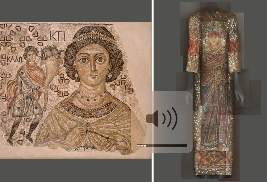 Left: Fragment of a Floor Mosaic with a Personification of Ktisis, Byzantine, 500-550, with modern restoration, marble and glass. Right: Ensemble, Domenico Dolce and Stefano Gabbana for Dolce & Gabbana, fall 2013–14.CreditMetropolitan Museum of Art; The Metropolitan Museum of Art/digital composite by Katerina Jebb