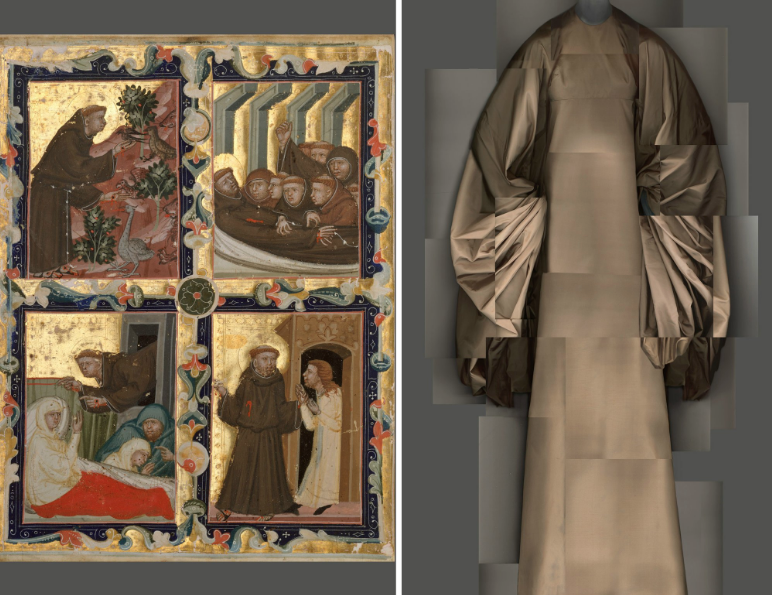 Left: Manuscript leaf with scenes from the life of Saint Francis of Assisi, circa 1320-42. Right: Madame Grès evening dress, 1969.CreditMetropolitan Museum of Art; The Metropolitan Museum of Art/digital composite by Katerina Jebb