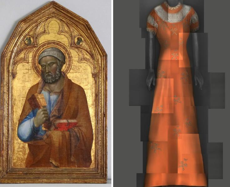 Left: Follower of Lippo Memmi, Saint Peter, mid–14th-century. Right: Elsa Schiaparelli evening dress, summer 1939.CreditMetropolitan Museum of Art; The Metropolitan Museum of Art/digital composite by Katerina Jebb