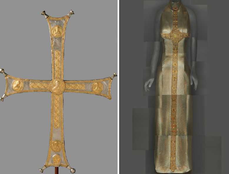 Left: Byzantine processional cross, ca. 1000-1050. Right: Gianni Versace evening dress, fall 1997–98.CreditMetropolitan Museum of Art; The Metropolitan Museum of Art/digital composite by Katerina Jebb