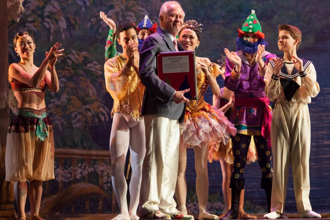 """Longtime Atlanta Ballet artistic director John McFall is saluted by his dancers during the 2016 staging of his """"Nutcracker."""" Photo: Kim Kenney"""