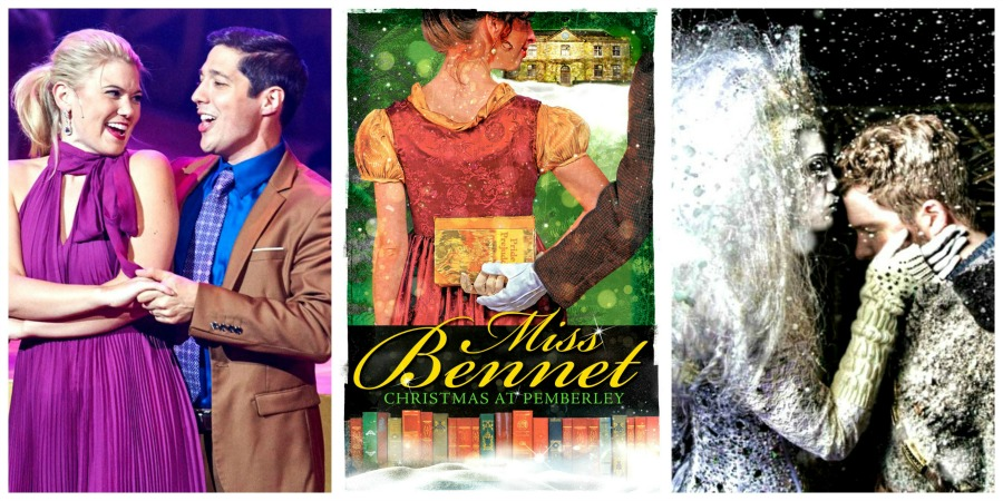 """t's beginning to look a lot like … well, you know. Pictured, from left: """"Christmas Canteen"""" with Caroline and Nick Arapoglou (Aurora Theatre); """"Miss Bennet: Christmas at Pemberley"""" (Theatrical Outfit); and """"The Snow Queen"""" (Serenbe Playhouse). Photo/illustrations by Chris Bartelski, Daryl Fazio, BreeAnne Clowdus."""