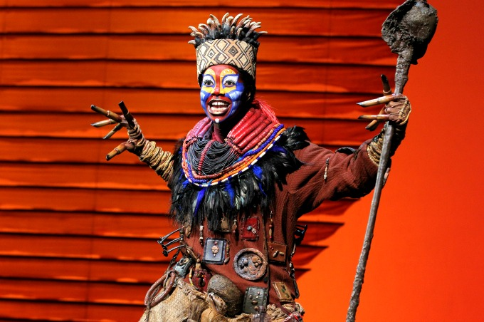 """Rafiki (Buyi Zama) opens """"The Lion King"""" by calling all the animals to celebrate the day with """"Circle of Life."""" Photo: Joan Marcus"""