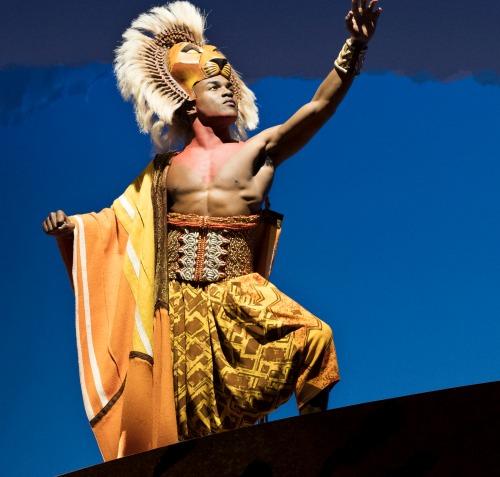 Simba (Gerard Caesar) atop Pride Rock. Photo: Deen van Meer
