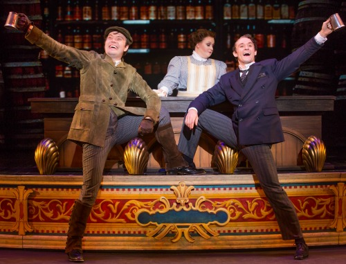 James Taylor Odom as Henry D'Ysquith (from left), Kristen Kane and Blake Price as Monty Navarro.