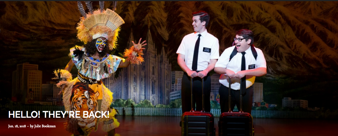 Above, from left: Monica L. Patton as a villager, Kevin Clay as Elder Price and Conner Peirson as Elder Cunningham. Photo by Julieta Cervantes.