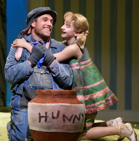 Joe Sykes (Eeyore), Mabel Tyler (Piglet). Photo: Greg Mooney