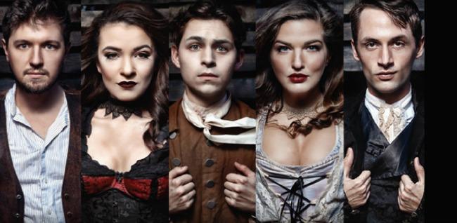 The cast (from left): Erik Poger Abrahamsen, Madison Welch, Jordan Patrick, Erin Burnett and Jeremy Gee. Photo: BreeAnne Clowdus